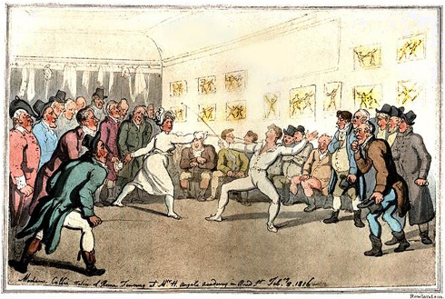 Madame Collie of Rome fencing at Angelo's Academy. Thomas Rowlandson, 1816.